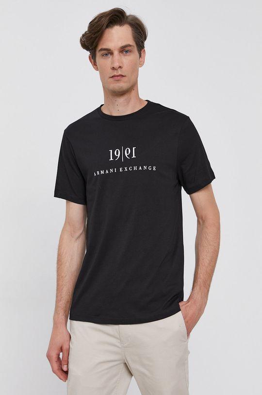 czarny Armani Exchange - T-shirt bawełniany