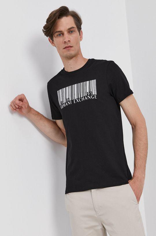 czarny Armani Exchange - T-shirt bawełniany Męski