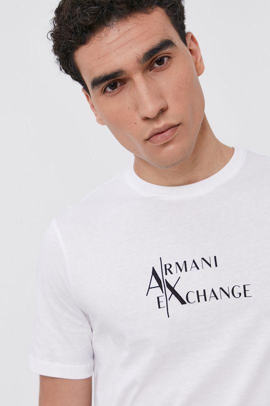 bílá Armani Exchange - Bavlněné tričko Pánský