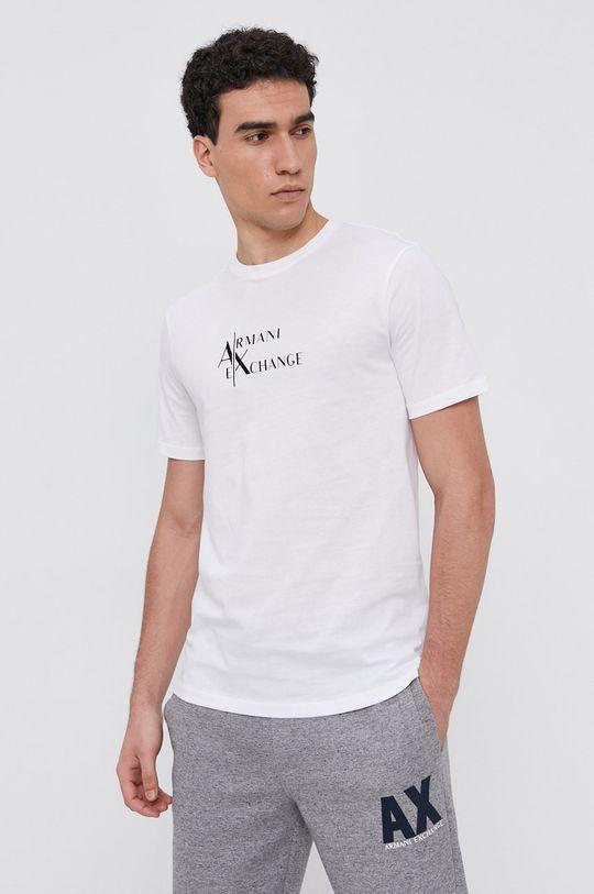 bílá Armani Exchange - Bavlněné tričko