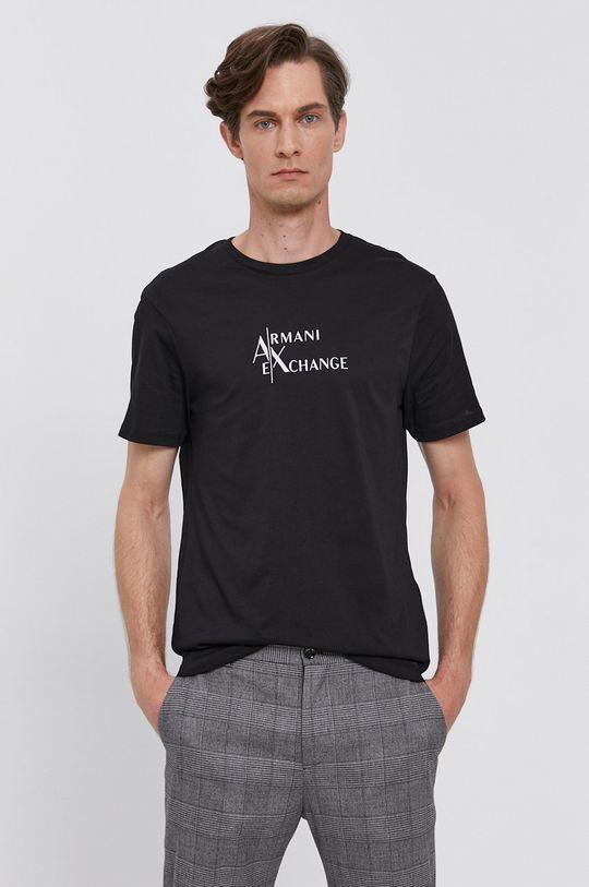 černá Armani Exchange - Bavlněné tričko Pánský