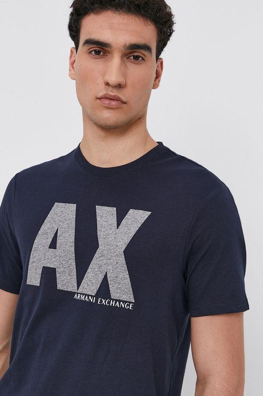 granatowy Armani Exchange - T-shirt Męski