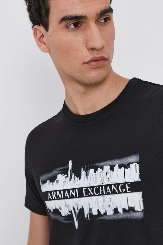 čierna Armani Exchange - Bavlnené tričko