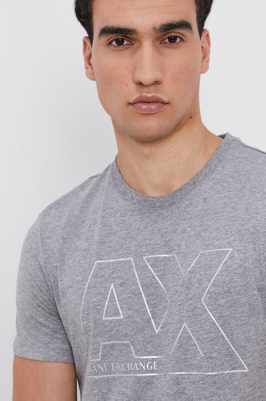 szary Armani Exchange - T-shirt bawełniany Męski