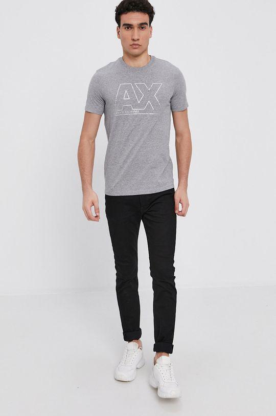 Armani Exchange - T-shirt bawełniany szary