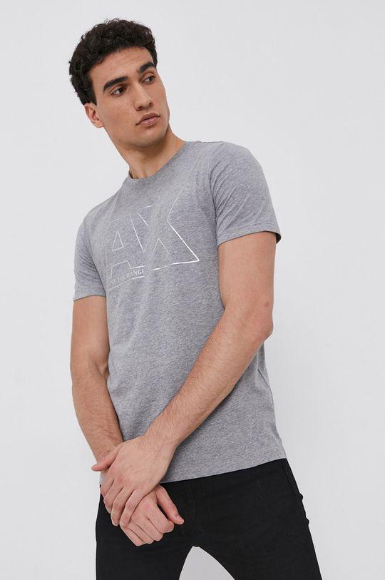 szary Armani Exchange - T-shirt bawełniany