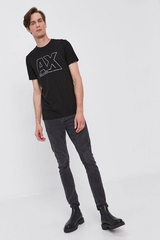 Armani Exchange - Bavlnené tričko čierna