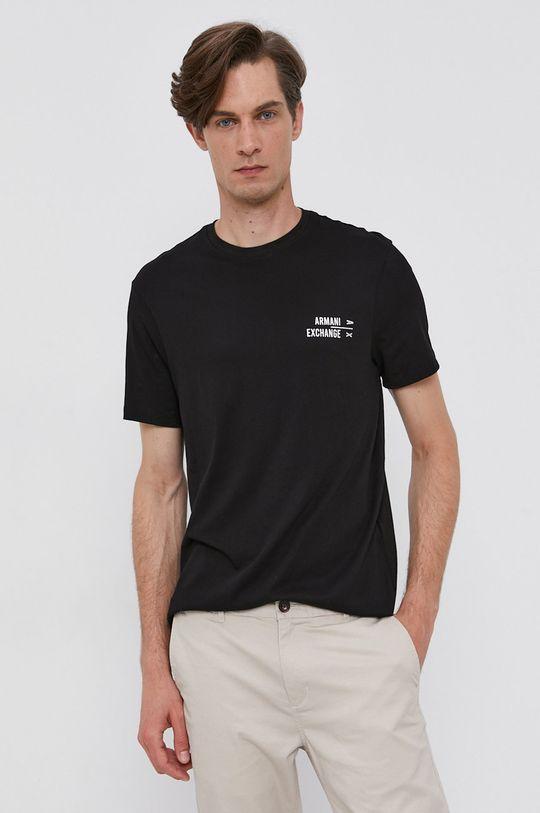 čierna Armani Exchange - Bavlnené tričko Pánsky
