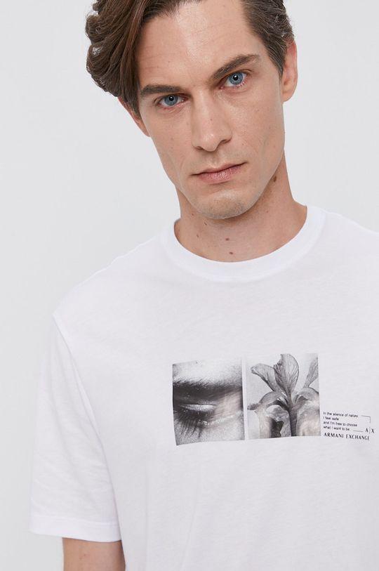 biały Armani Exchange - T-shirt bawełniany Męski