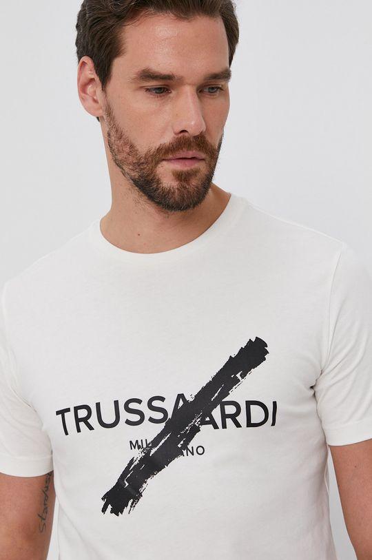 kremowy Trussardi - T-shirt bawełniany Męski