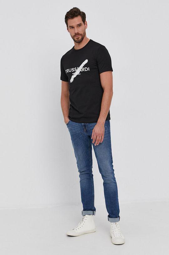 czarny Trussardi - T-shirt bawełniany Męski