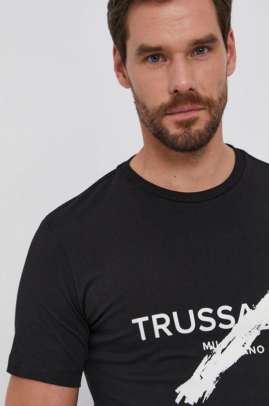 czarny Trussardi - T-shirt bawełniany