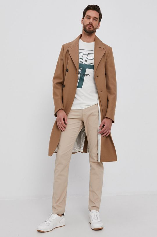 Trussardi - T-shirt bawełniany kremowy