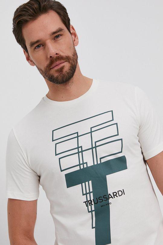 kremowy Trussardi - T-shirt bawełniany