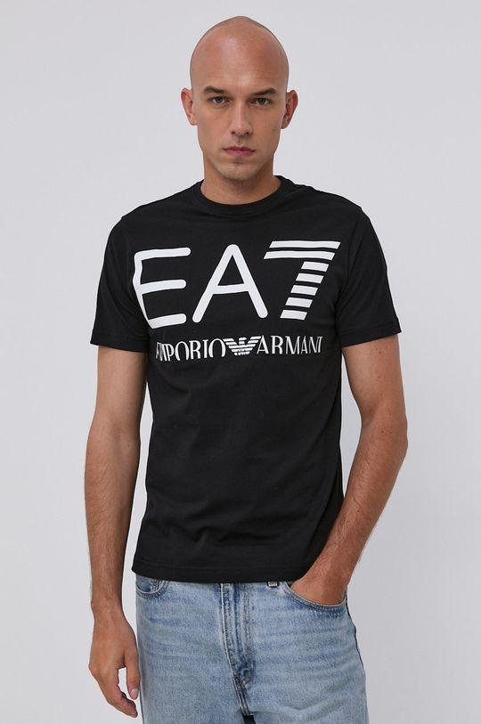 čierna EA7 Emporio Armani - Bavlnené tričko Pánsky