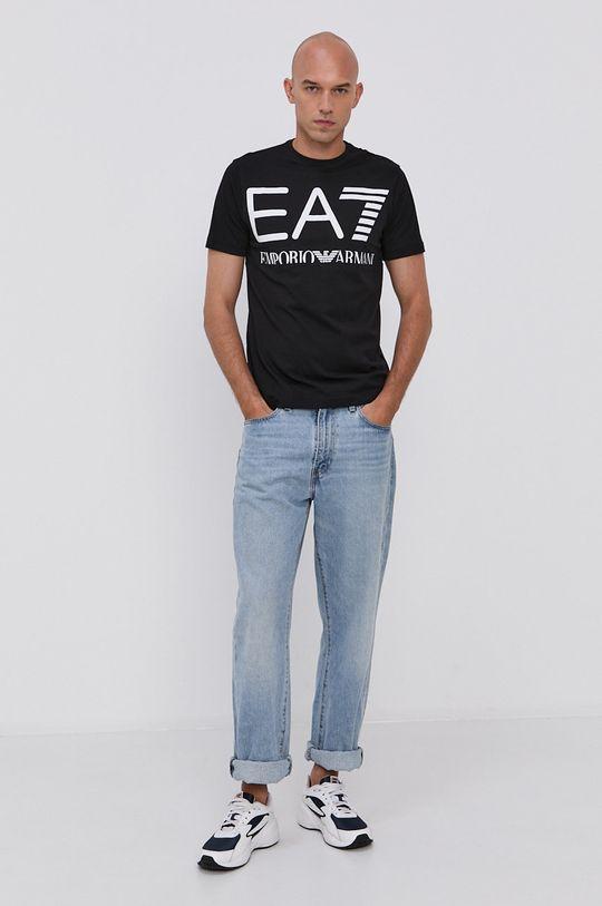 EA7 Emporio Armani - Bavlnené tričko čierna
