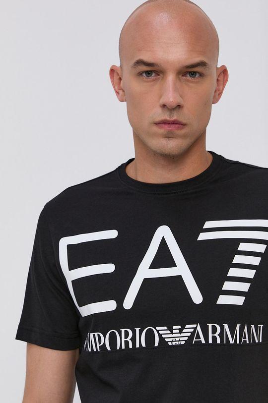 čierna EA7 Emporio Armani - Bavlnené tričko