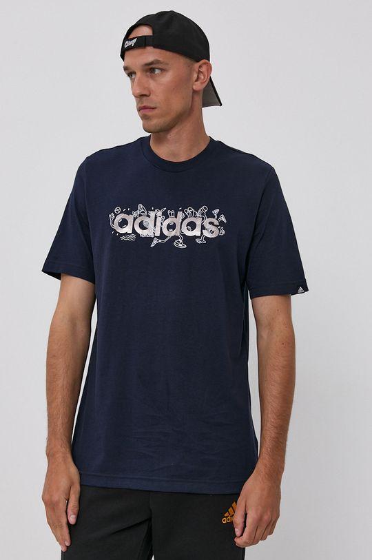 granatowy adidas - T-shirt bawełniany Męski