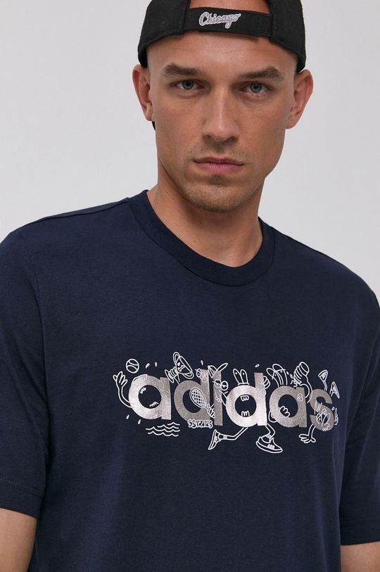 granatowy adidas - T-shirt bawełniany