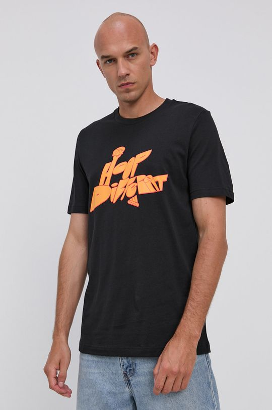 černá adidas Performance - Bavlněné tričko Pánský