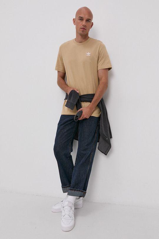 beżowy adidas Originals - T-shirt Męski