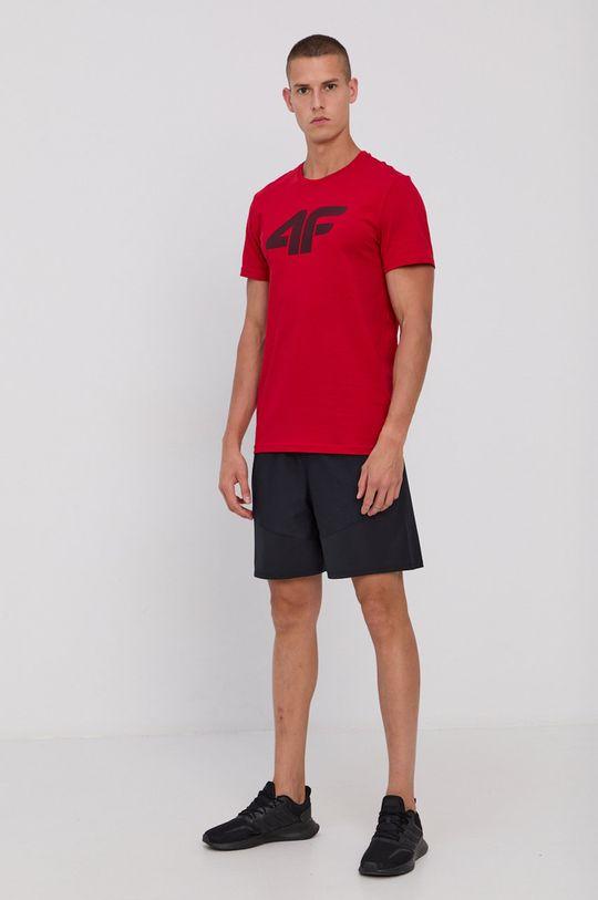 4F - T-shirt bawełniany czerwony