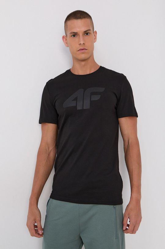 čierna 4F - Bavlnené tričko Pánsky
