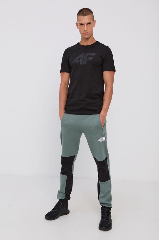 4F - Bavlnené tričko čierna