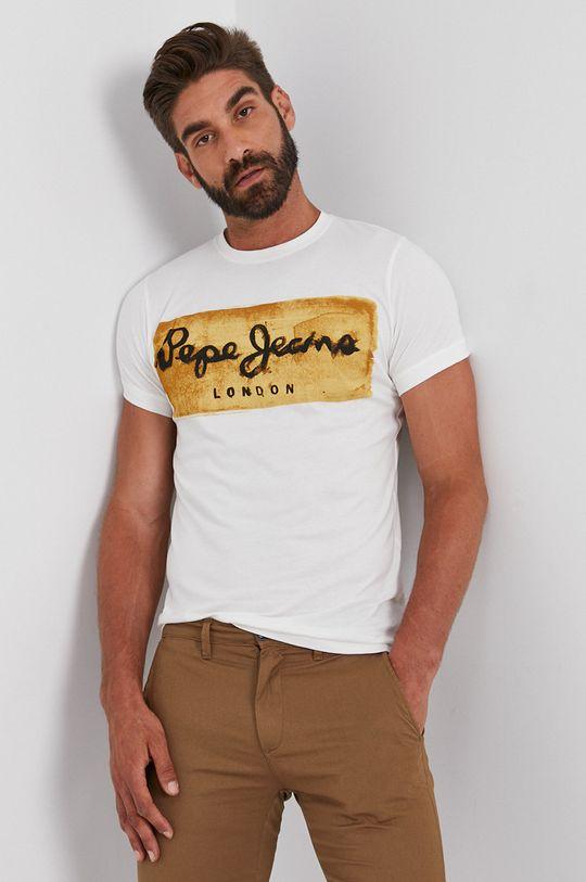 biały Pepe Jeans - T-shirt bawełniany Charing Męski