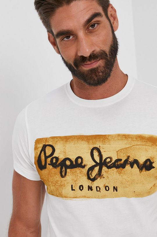 biały Pepe Jeans - T-shirt bawełniany Charing