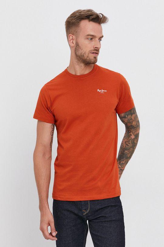 pomarańczowy Pepe Jeans - T-shirt bawełniany Derek Męski