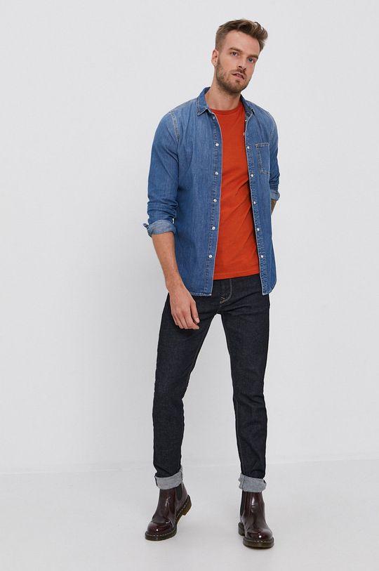 Pepe Jeans - T-shirt bawełniany Derek pomarańczowy