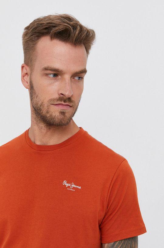 pomarańczowy Pepe Jeans - T-shirt bawełniany Derek