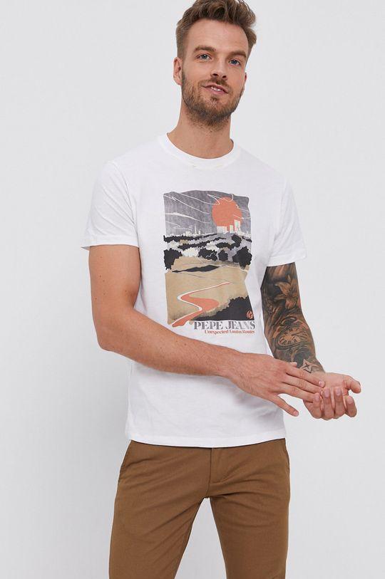 biela Pepe Jeans - Bavlnené tričko Wayne Pánsky