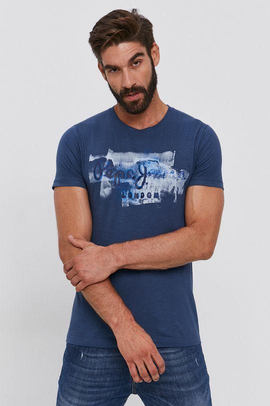 tmavomodrá Pepe Jeans - Bavlnené tričko Golders Pánsky