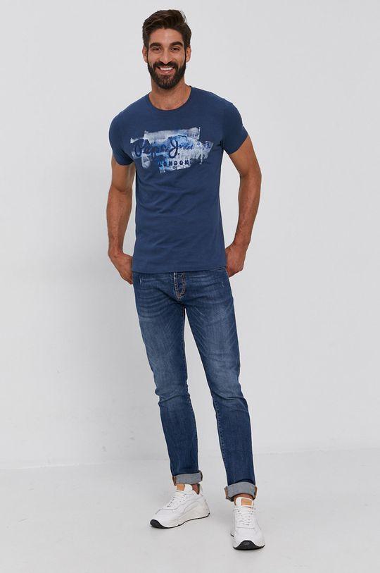 Pepe Jeans - Bavlnené tričko Golders tmavomodrá