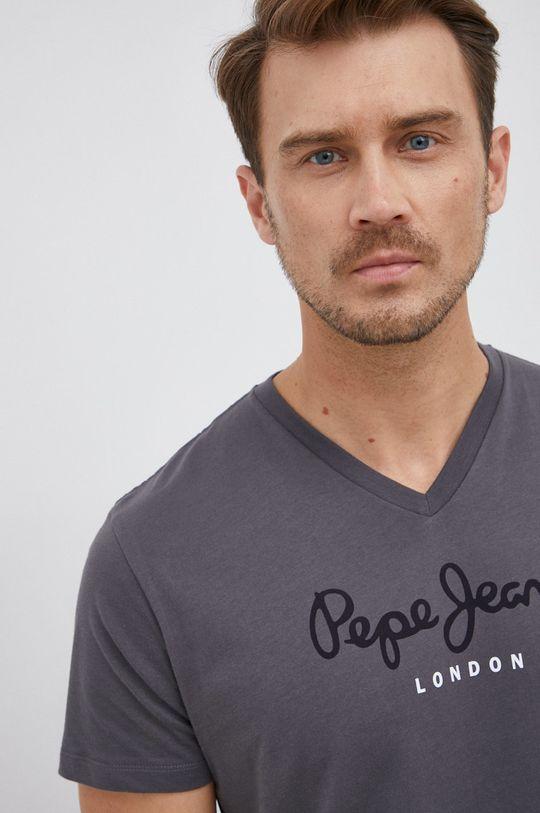 grafitová Pepe Jeans - Bavlněné tričko Eggo