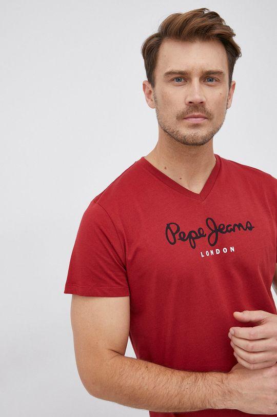 červená Pepe Jeans - Bavlněné tričko Eggo Pánský
