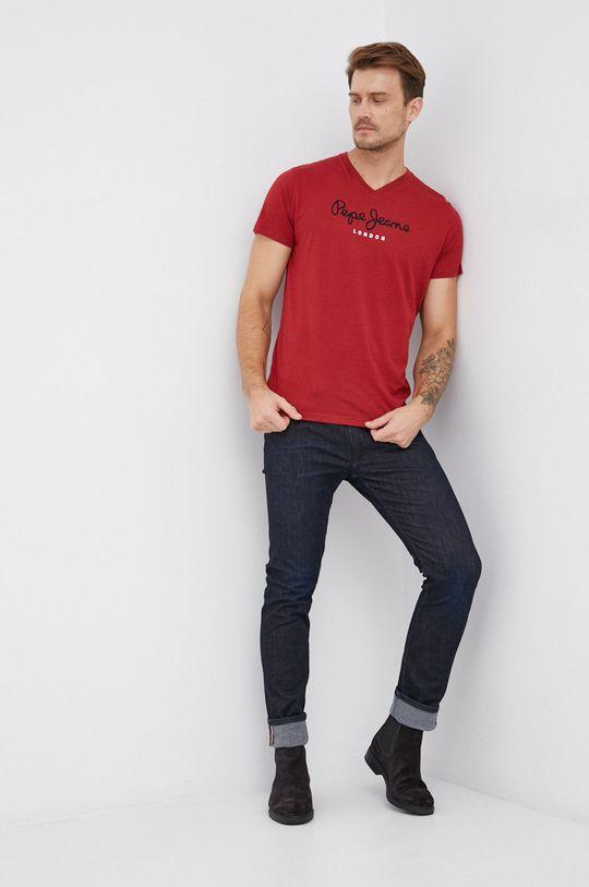 Pepe Jeans - Bavlněné tričko Eggo červená