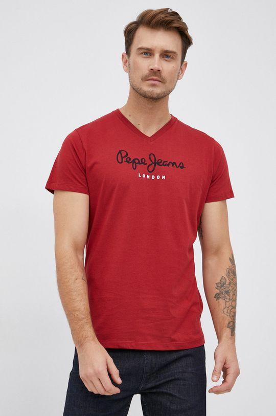 červená Pepe Jeans - Bavlněné tričko Eggo