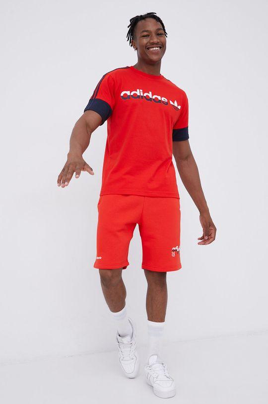 czerwony adidas Originals - T-shirt bawełniany Męski