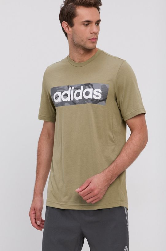 oliwkowy adidas - T-shirt Męski