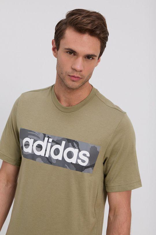 oliwkowy adidas - T-shirt