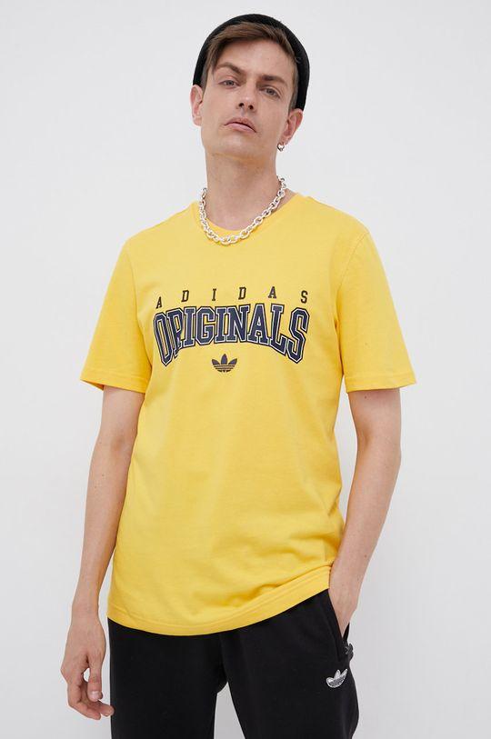 żółty adidas Originals - T-shirt bawełniany Męski
