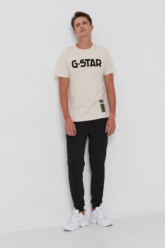 beżowy G-Star Raw - T-shirt bawełniany Męski
