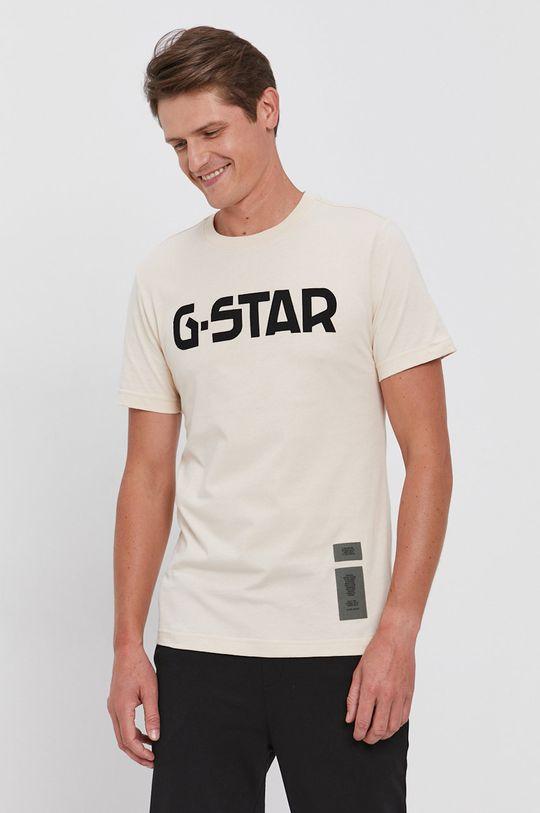 G-Star Raw - T-shirt bawełniany beżowy