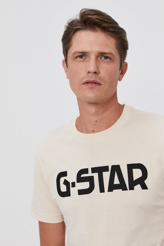beżowy G-Star Raw - T-shirt bawełniany