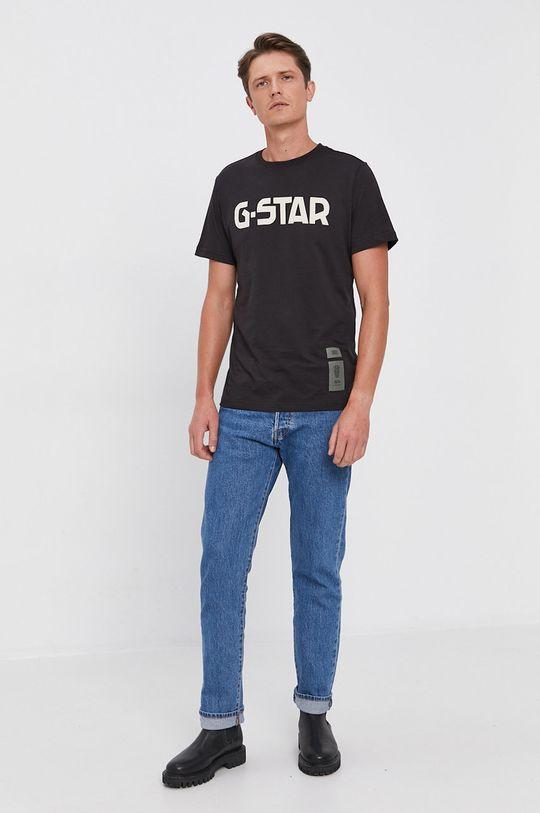 czarny G-Star Raw - T-shirt bawełniany Męski