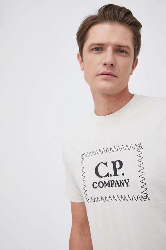 piaskowy C.P. Company - T-shirt bawełniany Męski