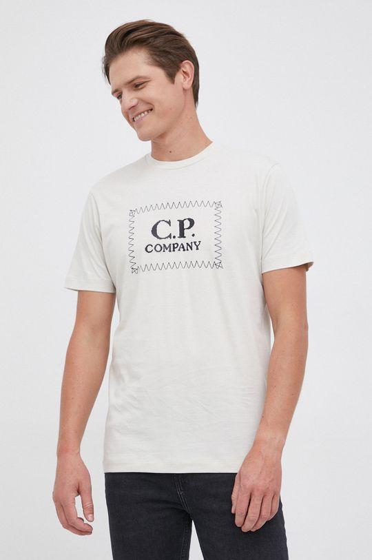 piaskowy C.P. Company - T-shirt bawełniany